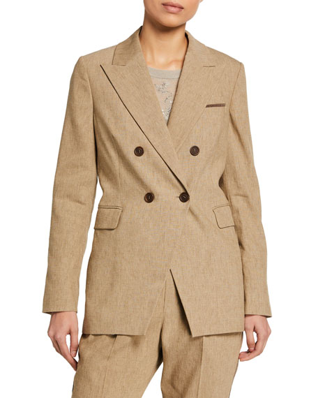 Brunello Cucinelli Double-Breasted Raw-Linen Delave Blazer