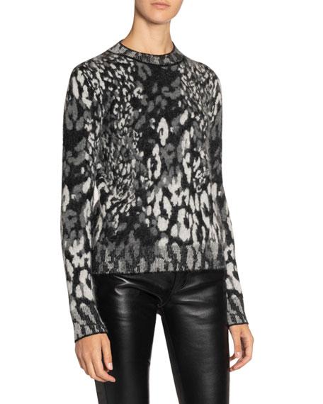 Saint Laurent Leopard-Jacquard Fuzzy-Knit Crewneck Sweater