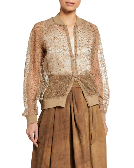 Brunello Cucinelli Sequined Netted Bomber Jacket