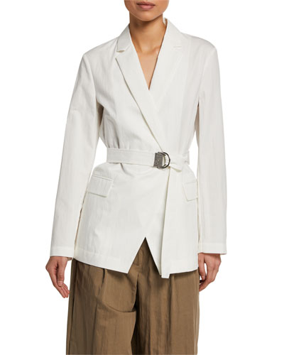 Crispy Cotton Gabardine Belted Jacket