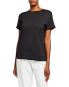 Brunello Cucinelli Crewneck Short-Sleeve Cashmere Lurex� T-Shirt