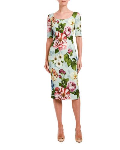 Short-Sleeve Floral-Print Cady Dress