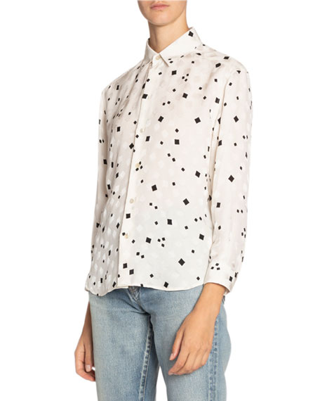 Saint Laurent Geometric Print Silk Shirt