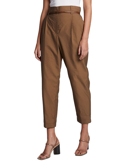 Brunello Cucinelli Belted Tech-Poplin Pants