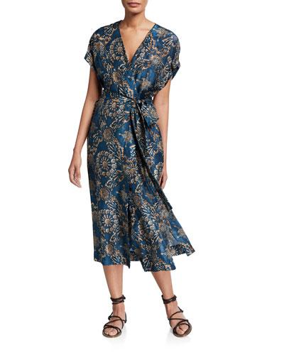 Printed Silk V-Neck Wrap Dress