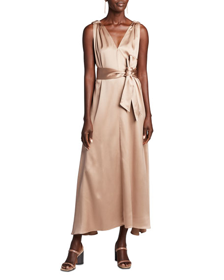 Brunello Cucinelli Satin Double-V Dress w/ Sash