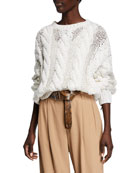 Brunello Cucinelli Crewneck Cable Knit Long-Sleeve Sweater w/