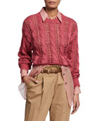 Brunello Cucinelli Open Weave Cable-Knit Sweater and Matching