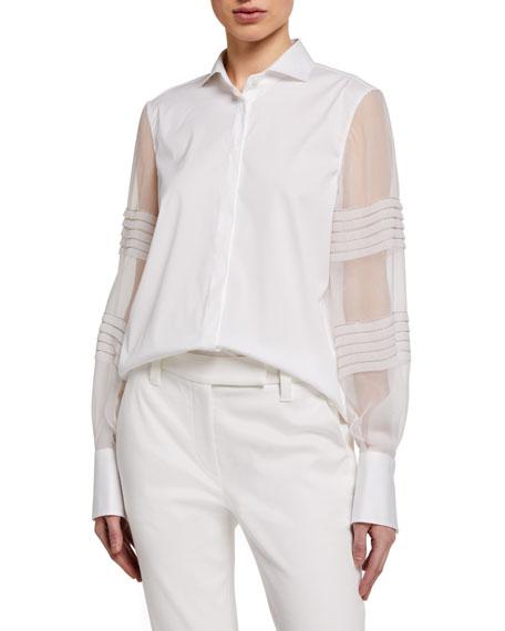 Brunello Cucinelli Monili-Beaded Organza Sleeve Poplin Shirt, White