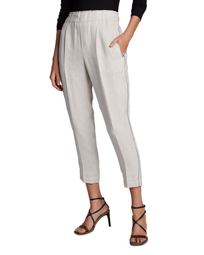 Rustic Linen Cropped Pants