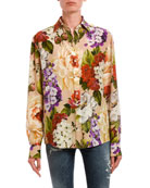 Dolce & Gabbana Floral Button-Front Long-Sleeve Silk Blouse