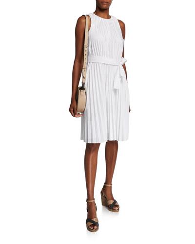 Cotton Poplin Sleeveless Pleated Dress