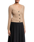 Brunello Cucinelli Sequined Cotton-Linen Ribbed Sweater and