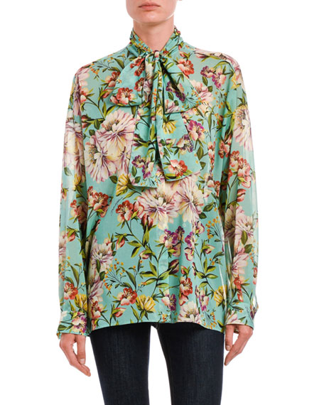 Dolce & Gabbana Tie-Neck Floral Georgette Button-Front Blouse