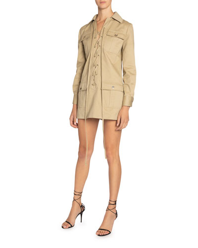 Long-Sleeve Lace-Up Four-Pocket Mini Cotton Twill Dress