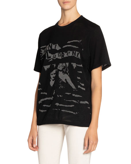 Saint Laurent Oversized Photo Print Short-Sleeve Tee