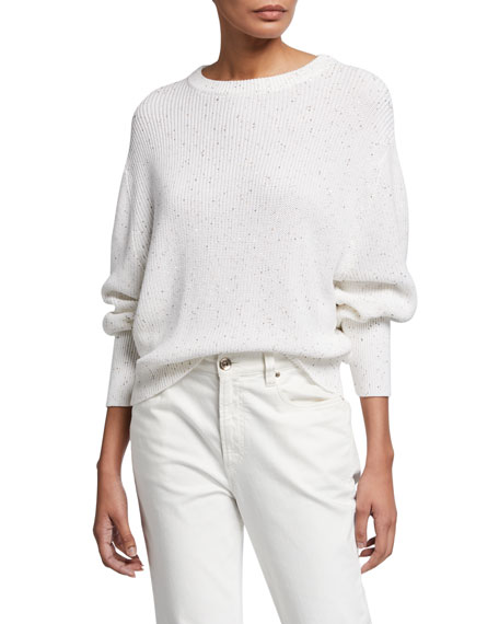 Brunello Cucinelli Silk Ribbed Tweed Sweater