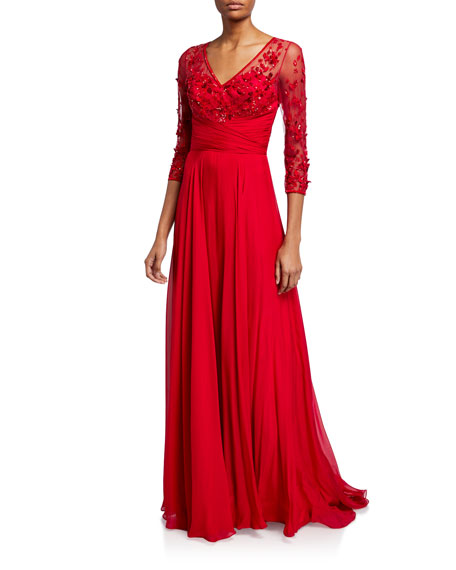 Theia Couture Beaded V-Neck 3/4-Sleeve Gown