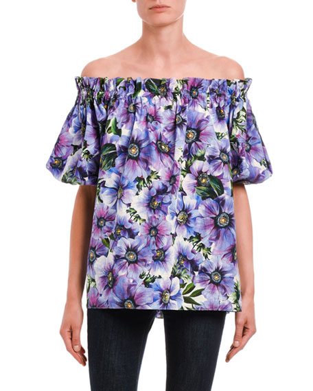 Dolce & Gabbana Floral Poplin Off-the-Shoulder Top