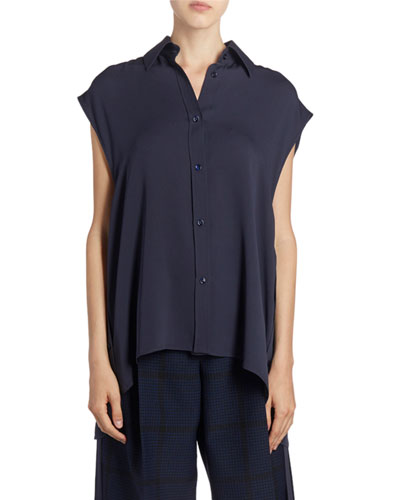 Silk Sleeveless Button-Front Tie-Waist Shirt