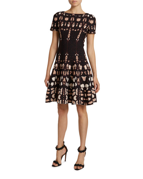 ALAIA Mesh High-Neck Fit & Flare Dress