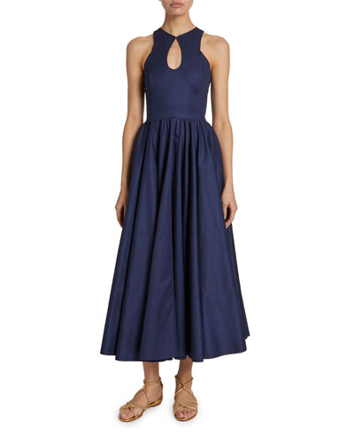 Tiered Gabardine Keyhole-Neck Dress