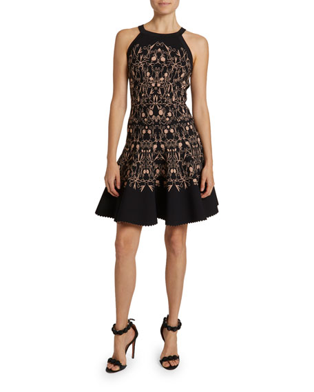 ALAIA Closerie Print Jersey Halter Dress
