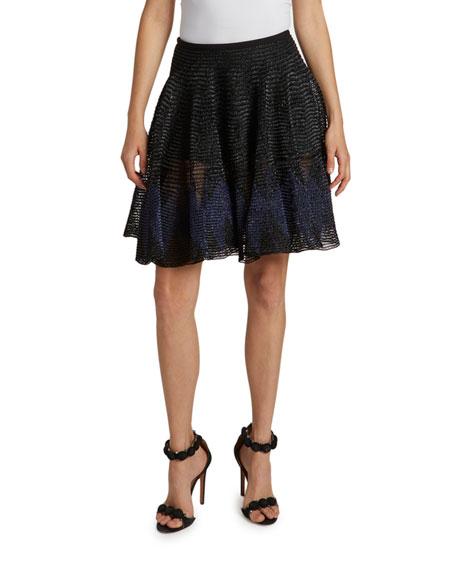 ALAIA Pleated Mesh A-Line Skirt