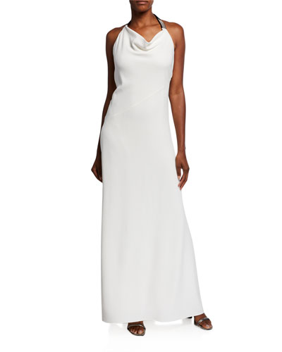 Silk Cady Cowl-Neck Halter Gown, White