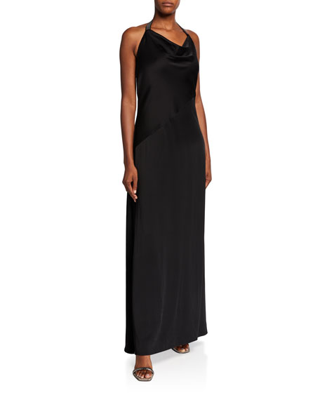 Brunello Cucinelli Silk Cady Cowl-Neck Halter Gown, Black