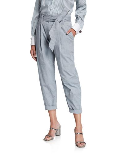 Crispy Cotton Gabardine Utility Pants