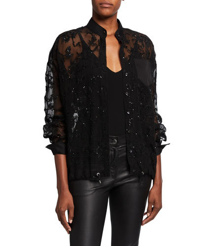 Beaded Drawstring Crispy Silk Blouse