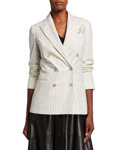 Pinstriped Stretch Cotton Blazer