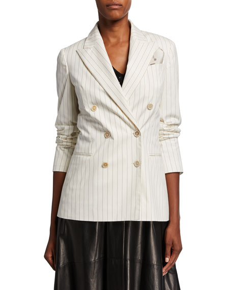 Brunello Cucinelli Pinstriped Stretch Cotton Blazer