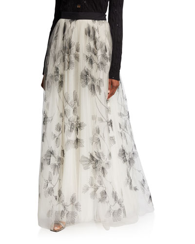 Tulle Embroidered Maxi Skirt
