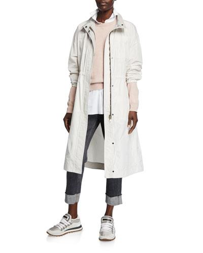 Lightweight Taffeta Long Zip-Front Coat