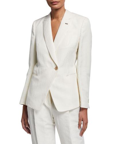 Cotton-Linen Chevron Asymmetric Uniform Jacket