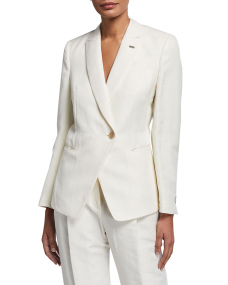 Brunello Cucinelli Cotton-Linen Chevron Asymmetric Uniform Jacket