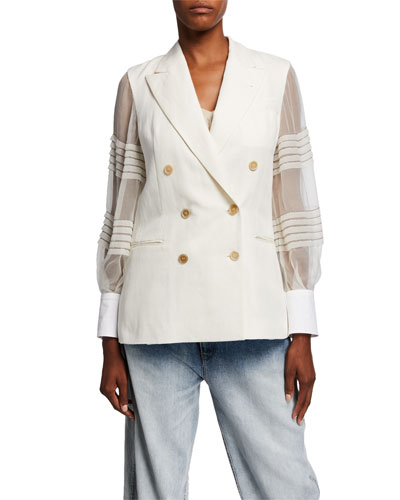Sheer Sleeve Linen-Cotton Double-Breasted Blazer