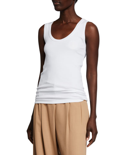 Cotton Ribbed Scoop-Neck Tank