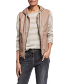 Brunello Cucinelli Shiny Leather Cotton Hooded Vest