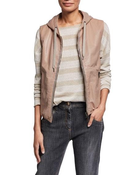 Brunello Cucinelli Shiny Leather Cotton Hooded Vest