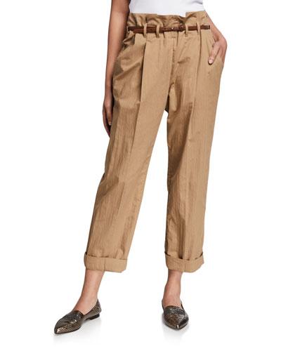 Pleated Paperbag-Waist Gabardine Pants