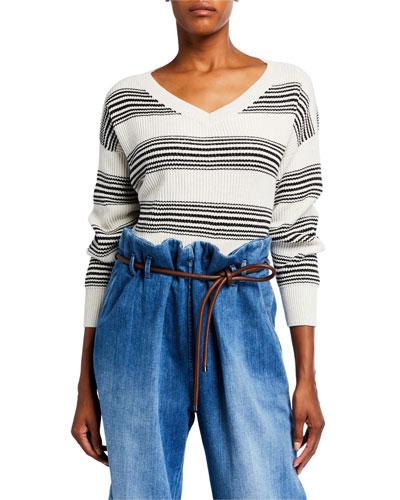 Shimmered Striped V-Neck Sweater