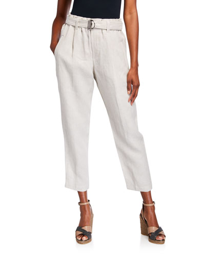 Rustic Linen Crop Pants with Monili D-Ring Belt