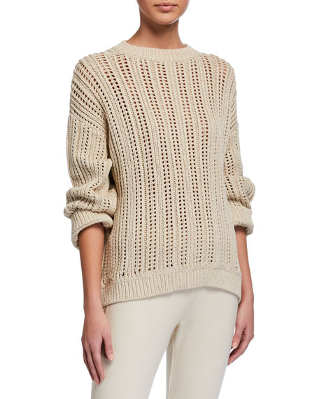 Brunello Cucinelli English-Ribbed Shimmer Cotton Sweater