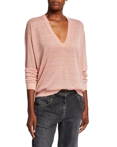 Shimmer Linen V-Neck Sweater