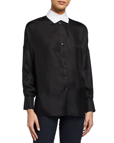 Brunello Cucinelli Two-Tone Silk Tunic Blouse with Monili Pin