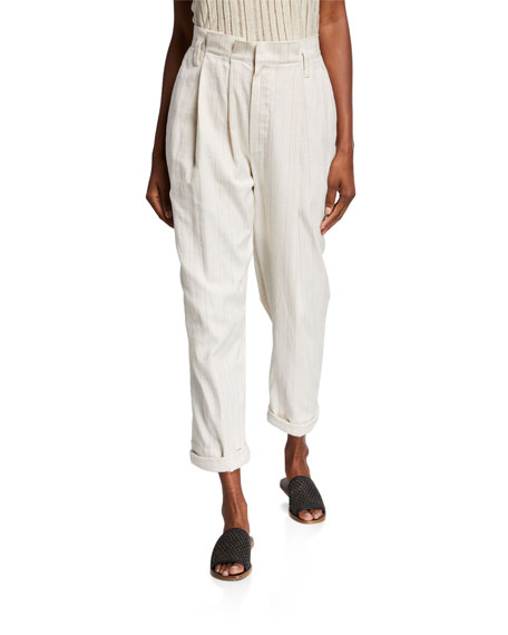 Brunello Cucinelli raw canvas stripe slouchy pleated waist pant