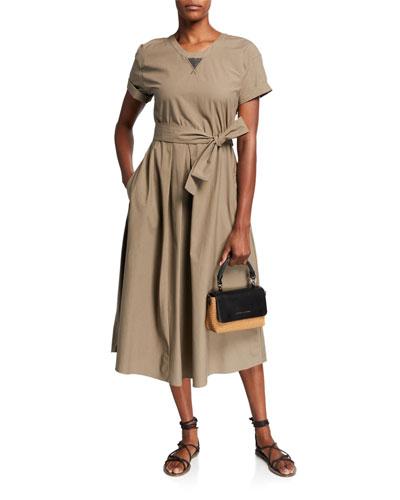 Cotton Poplin Short-Sleeve Dress